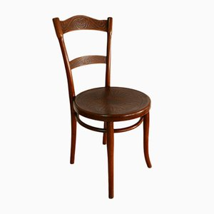 Antique Austrian Art Nouveau Bentwood & Embossed Ornaments Side Chair by Michael Thonet for Thonet