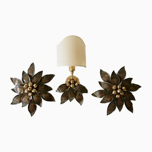 German Bronze Patinated Brass Wall & Ceiling Lamps, 1970s, Set of 3