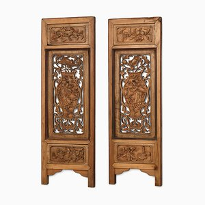 Antique Chinese Carved Wooden Panels, Set of 2