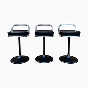 Vintage Postmodern Swivel Bar Stools from Lusch, Set of 3