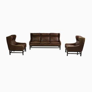 Mid-Century Danish Architectural Armchairs & Sofa, Set of 3