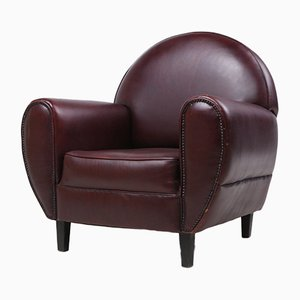Vintage Art Deco Style Maroon Leather Armchair