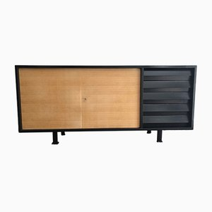 Black Lacquered Mahogany & Beech Sideboard in the Style of Florence Knoll, 1960s