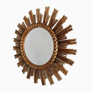 Italian Glided Wood Solar Mirror, 1950s