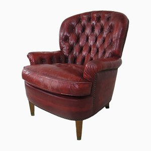 Red Leather Chesterfield Lounge Chair, 1970s