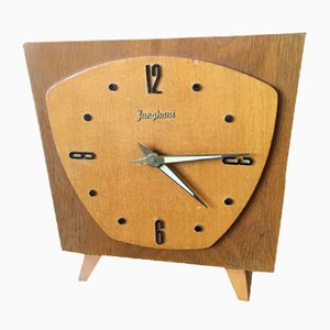 Mid-Century Wooden Clock from Junghans, 1950s