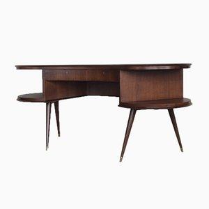Mid-Century Modern Wenge Organic-Shaped Boomerang Custom Desk, 1960s