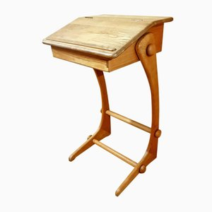 Vintage Anthroposophical-Shaped High Desk with Folding Shelf
