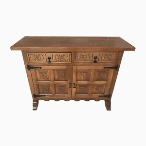 Spanish Carved Dark Walnut Tuscan 2-Drawer Credenza, 1940s