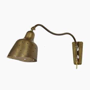 Danish Modern Brass Wall Light by Vilhelm Lauritzen for Fog & Mørup, 1950s