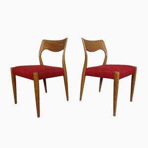 Dänische Eichenholz Esszimmerstühle, 1960er, 2er Set