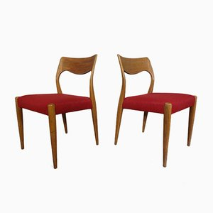Danish Oak Dining Chairs, 1960s, Set of 2
