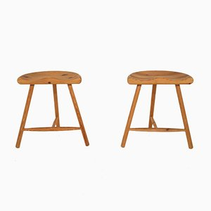 Danish Pine Stools in the Style of Rainer Daumiller, 1960s, Set of 2