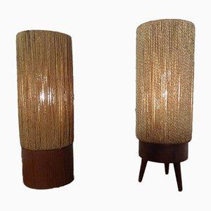 Dänische Mid-Century Tischlampen aus Teak & Sisal, 2er Set, 1950er