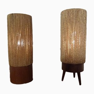 Mid-Century Danish Teak & Sisal Table Lamps, Set of 2, 1950s