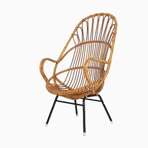 Dutch Rattan Lounge Chair from Rohe Noordwolde, 1960s