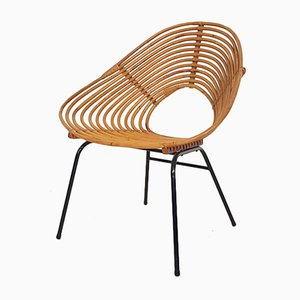 Dutch Rattan Lounge Chair from Rohe Noordwolde, 1950s