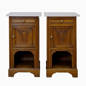 Art Nouveau Nightstands with Marble Top, Set of 2