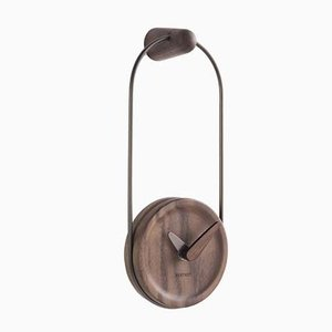 Graphite & Walnut Micro Eslabon Wall Clock by Andrés Martínez for Nomon