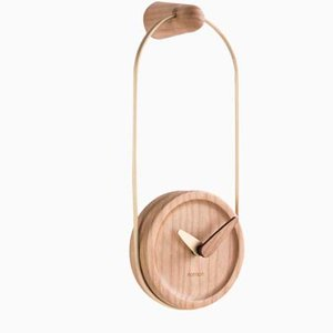 Brass & Walnut Micro Eslabon Wall Clock by Andrés Martínez for Nomon