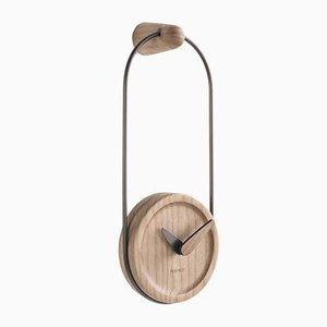 Graphite & Oak Micro Eslabon Wall Clock by Andrés Martínez for Nomon