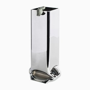 Square Chrome Tall Pressure Vase by Tim Teven Studio