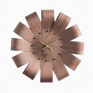 Ciclo Walnut & Brass Hands Wall Clock by Andrés Martínez for Nomon