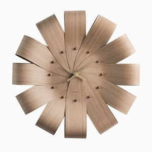 Ciclo Oak & Brass Hands Wall Clock by Andrés Martínez for Nomon