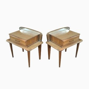 Vintage Oak and Etched Mirror Nightstands, 1950s, Set of 2