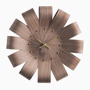 Ciclo Walnut & Brass Wall Clock by Andrés Martínez for Nomon