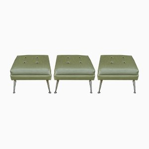 Vintage Leatherette and Metal Ottomans, 1960s, Set of 3
