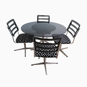 Mid-Century Smoked Glass & Chrome Dining Table & Lucite Chairs, Set of 5