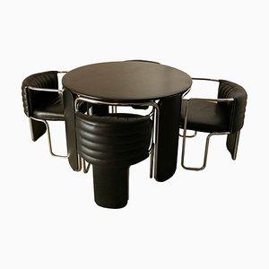 Italian Dining Table & Chairs Set by Luigi Massoni for Poltrona Frau, 1970s, Set of 5