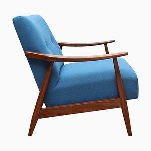 Blue Teak Armchair, 1950s