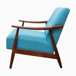 Light Blue Teak Armchair, 1950s