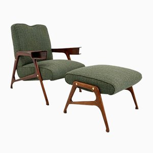 Italian Lounge Chair and Ottoman by Augusto Romano, 1950s