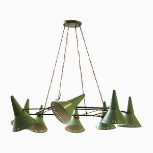 Mid-Century Green Aluminum & Brass Ceiling Lamp from Stilnovo