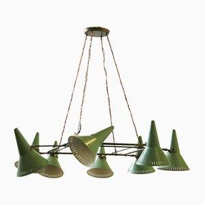 Mid-Century Green Aluminum & Brass Ceiling Lamp from Stilnovo