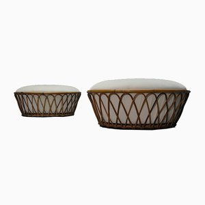 Wicker Poufs, 1960s, Set of 2
