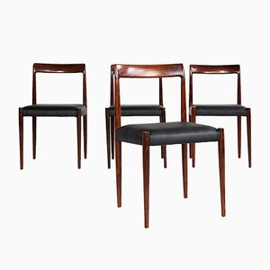 Black Skai & Rosewood Dining Chairs from Lübke, 1960s, Set of 4