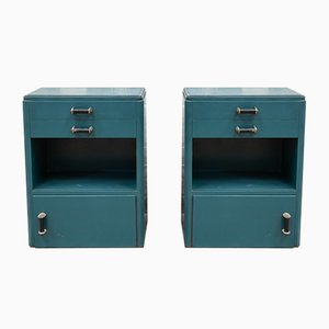 Art Deco Green & Blue Nightstands, 1920s, Set of 2