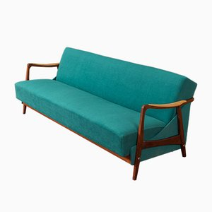 Brown Stained Beech Sofa, 1950s