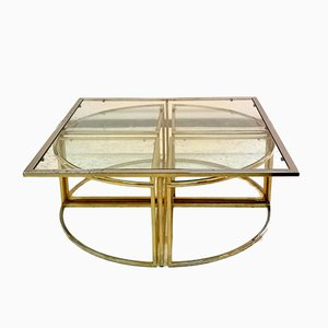 Hollywood Regency Brass Nesting Coffee Table Set, 1970s