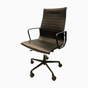 Chaise de Bureau à Dossier Haut EA119 en Cuir Noir par Charles & Ray Eames pour Herman Miller, 1960s