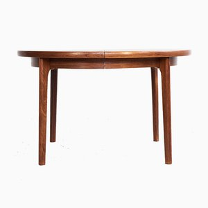 Danish Teak Round Dining Table with 2 Extensions with Border, 1960s