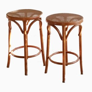 Romanian Bentwood and Rattan Stool, 1960s, Set of 2
