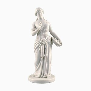 Antique Sculpture of Flower Girl in Biscuit from Bing & Grondahl