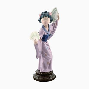 Large Spanish Figure in Glazed Porcelain Geisha with Fans by Lladro, 20th Century