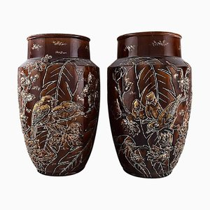 Large Longchamp Majolica Vases in Reddish Brown Glaze, 1920s, Set of 2