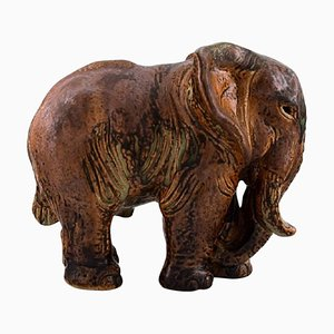 Large Elephant in Glazed Stoneware by Knud Kyhn for Royal Copenhagen, 1940s